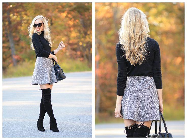 Coveted Black Turtleneck Tweed Flounce Skirt Otk