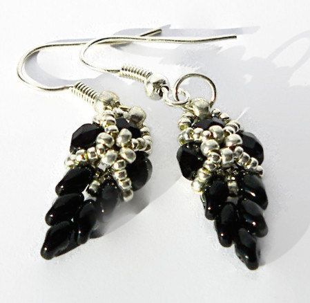 Black Dangle Earrings, Leaf Earrings, Leaves Earrings, Black and silver bead earrings, Dangle Earrings, Beadwork - pinned by pin4etsy.com