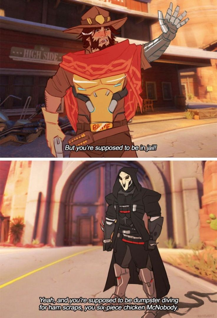Overwatch incorrect quotes Jesse McCree and Reaper (Gabriel Reyes) comic by ghost-phage on Tumblr