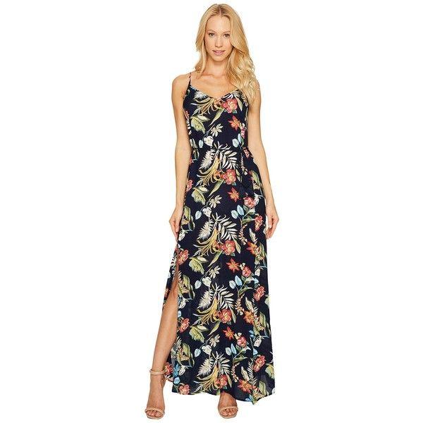 Brigitte Bailey Addilyn Sleeveless Maxi Dress (Navy) Women's Dress ($74) ❤ liked on Polyvore featuring dresses, navy blue maxi dress, navy blue dress, floral print dress, tie-dye maxi dresses and navy maxi dress