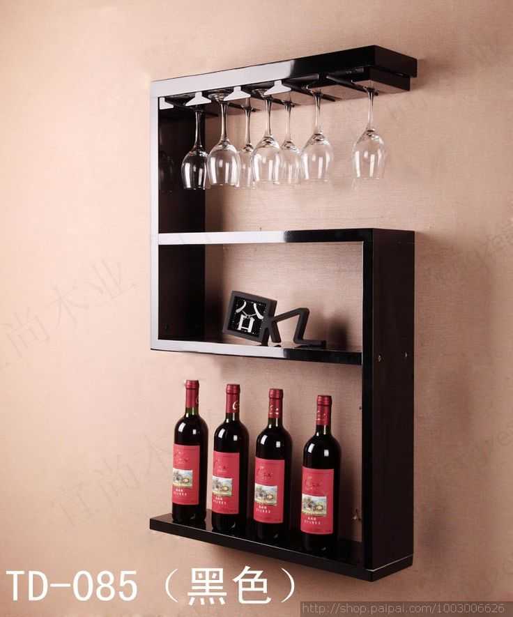 Continental retro wood wine rack hanging rack bar creative living room Coffee goblet frame