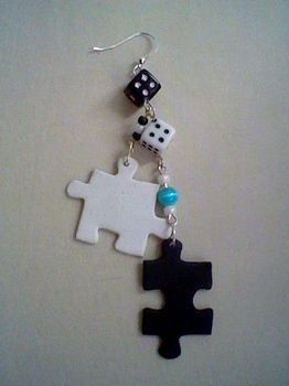 puzzle & dice earings