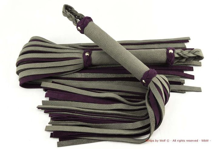 Handmade grey and purple, thuddy, leather flogger set!  now for sale at: http://www.whipsbywolf.com/product/grey-purple-thuddy-leather-flogger-set-no-endknob/