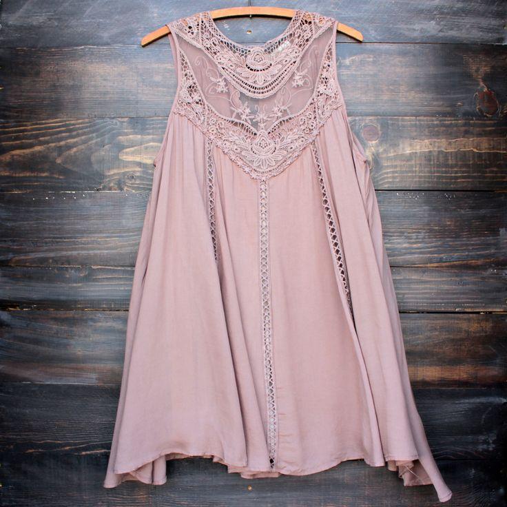 taupe boho crochet lace dress
