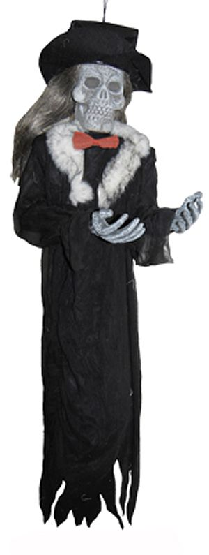 A Halloween party decoration of a hanging skeleton groom wearing his top hat and a black flowing robe with a red bowtie. This scary Halloween groom party decoration also has a fur trimmed collar and you can buy online or at our Sydney party supplies store