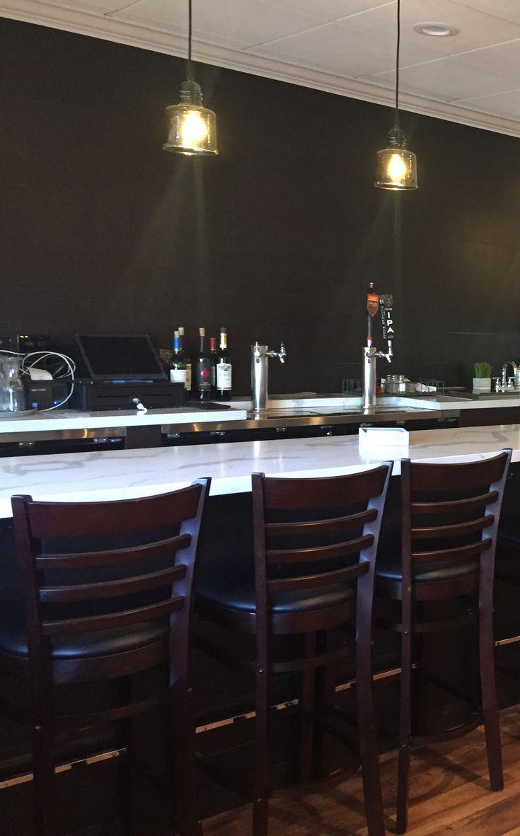 Mama Rosau0027s Restaurant With Walnut Ladder Back Bar Stool With Black Vinyl  Seat | Restaurant Furniture