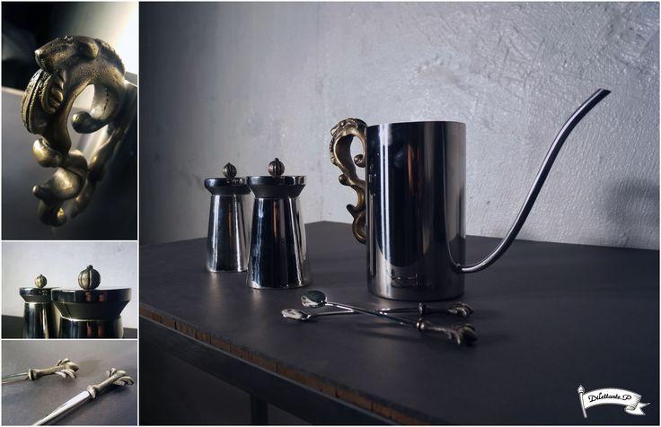 Fusion Coffee Set #fusion #modern #victorian #classic #hybrid #coffee #set #barista #kettle #drippot #container #teaspoon #spoon #ornament