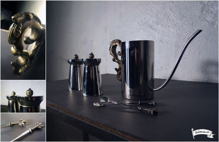 Fusion Coffee Set #fusion #modern #victorian #classic #hybrid #coffee #set #barista #kettle #drippot #container #teaspoon #spoon #ornament