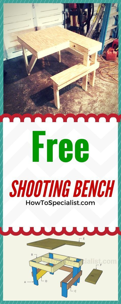 How to build a shooting bench - Easy to follow shooting table plans and instructions! Free plans at www.howtospecialist.com #bench #shootingbench