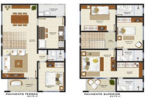 Planta de casas pequenas de dois andares primeiro e superior