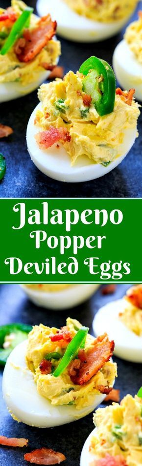 Jalapeno Popper Deviled Eggs flavored with cream cheese, bacon, and jalapenos.