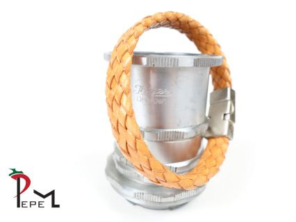 An orange leather bracelet with a diameter of 21 cm or 8.2 inches. The closure is made of magnetic metal with a vintage coating.