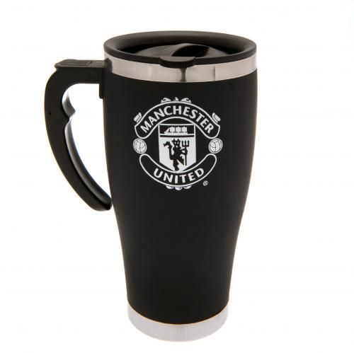 Aluminium Man United travel mug in black and featuring the club crest in white…