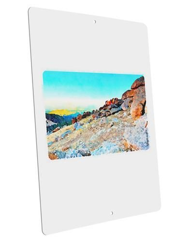 """CO Rockies View Watercolor Large Aluminum Sign 12 x 18"""" - Portrait"""