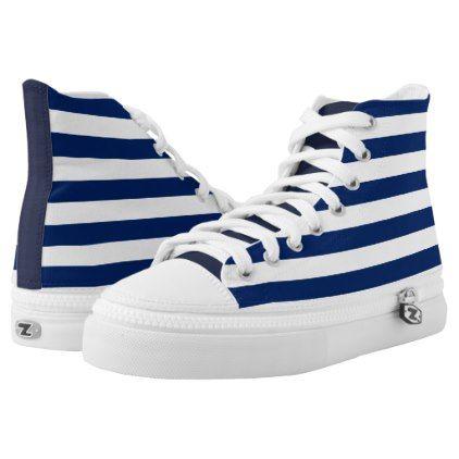 Custom Nautical Navy Stripes High-Top Sneakers - holidays diy custom design cyo holiday family