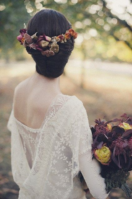 autumn bride. soft lace, deep purples, mustard yellows, and burnt orange flowers. flower crown.