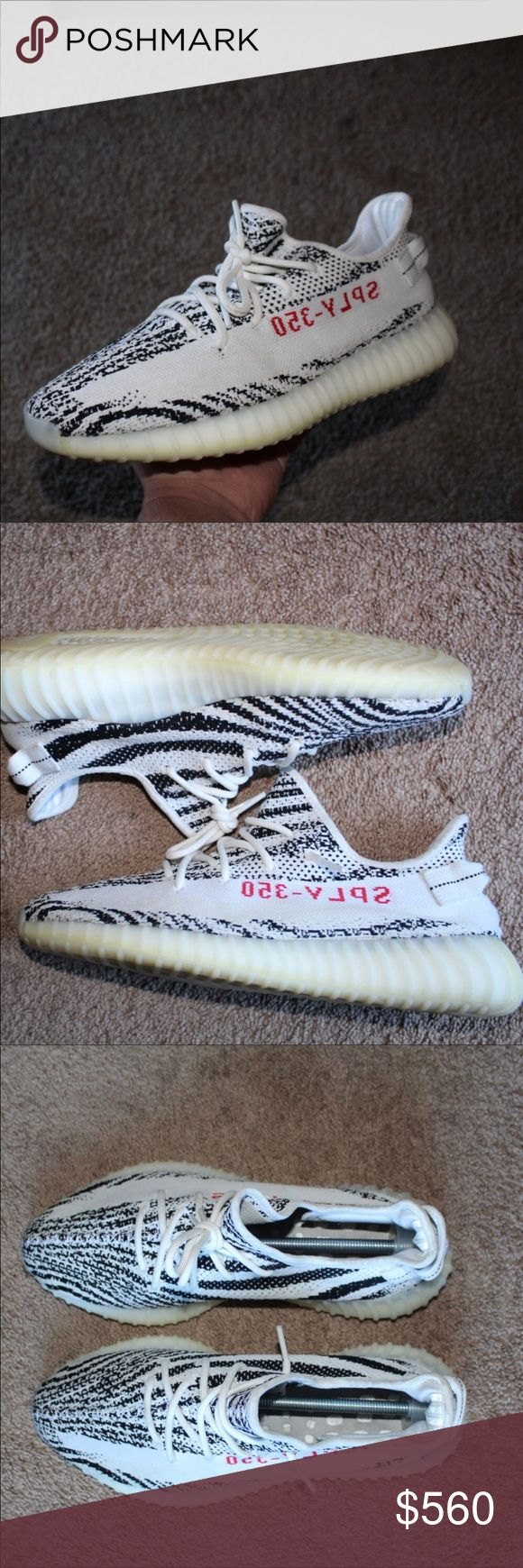Yeezy Zebra V2 Authentic, size 11.5, worn, pass the UV light check, bought them off of goat new, worn some times but not a lot. Decent 8.8/10. Only flaws are dirty insoles that have feet markings but I tried getting most of it off. Come with a good price. Hate and low balls bet the B A N H A M M E R. I can go cheaper off of here, other than that this is where the price will be around since posh has hella fees. Yeezy Shoes Sneakers