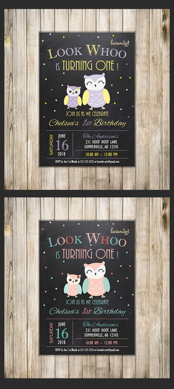wording ideas forst birthday party invitation%0A CHALKBOARD OWL  st BIRTHDAY Invitation  Owl Birthday Invite  Girls Birthday   Look Whoo