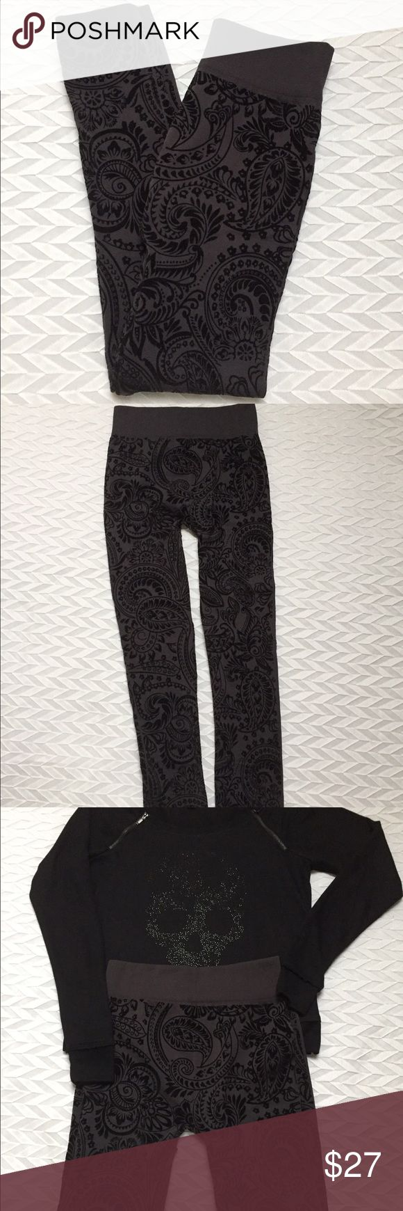 Damask black & charcoal leggings Gorgeous pair of leggings, re-posh, NWOT.  The main color is grey with the design being in black velvet, nice waistband & fitted bottoms. The size states M/L. 92% polyester, 8% spandex.  I'm selling them for the price I purchased them for, so the price is Firm QREE Pants Leggings