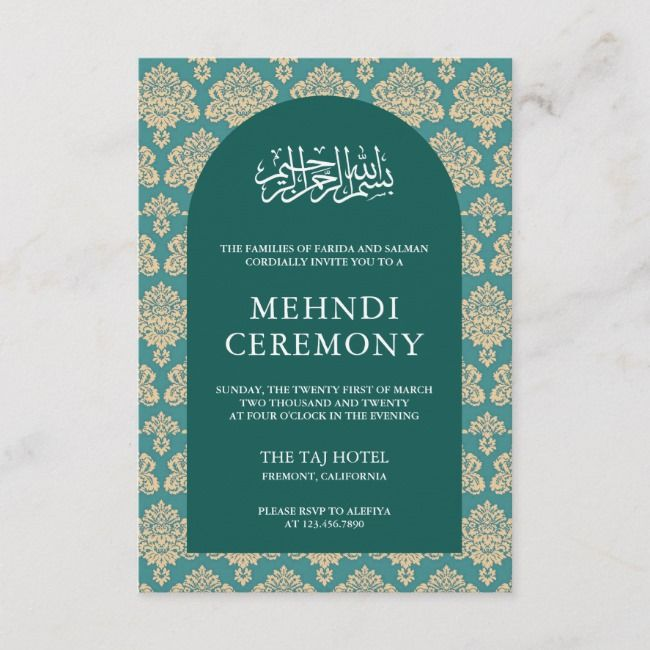 Elegant Teal Damask Arch Islamic Mehndi Ceremony Enclosure Card Zazzle Com Mehndi Ceremony Indian Wedding Invitation Cards Box Wedding Invitations
