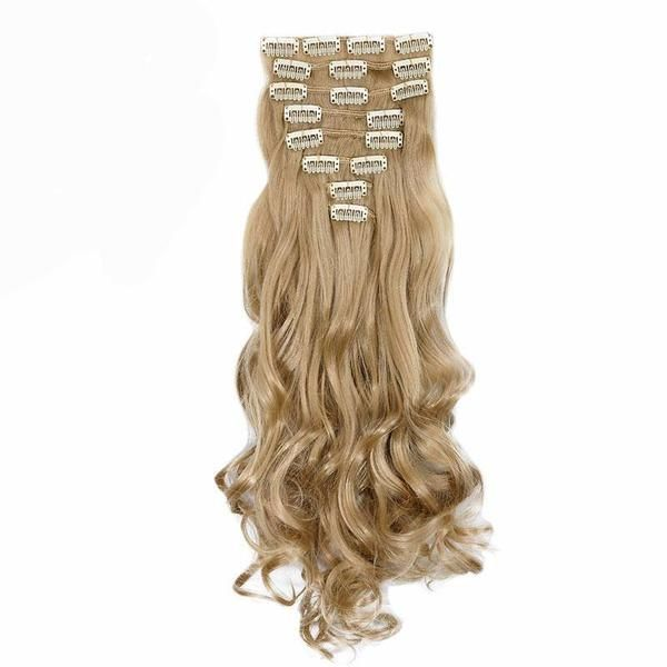 Long Curly 18 Clips in False Hair Styling Synthetic Hair Extensions Hairpiece Condition: 100% brand new    Structure: CurlyLength: 24inchWeight:170gType of exte