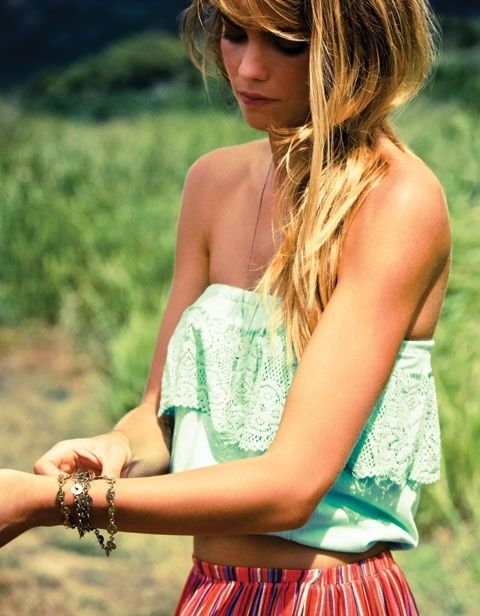 Blonde Episodes: Mint Green, Cute Tops, Summer Outfit, Summer Looks, Crop Tops, Color, Summer Style, Tube Tops, Summer Tops