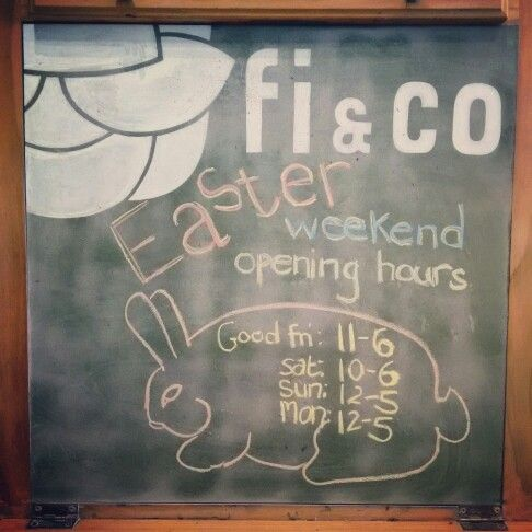 Just in case you missed our other post about this weekend's opening hours, here they are again in chalk ;) Good Friday 11-6, Saturday 10-6, Sunday 12-5, and Monday 12-5 #easter #easterweekend #holidays #longweekend #timeoff #rabbit #bunny #chalk #retailtherapy  #shopping #cute