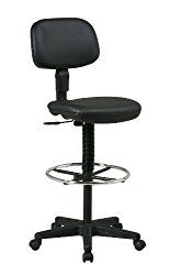 Office Star Sculptured Vinyl Seat and Back Pneumatic Drafting Chair with Adjustable Chromed Foot ring, Black