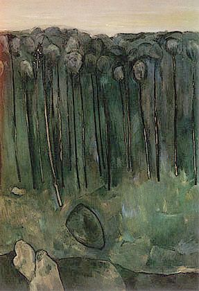 'Sapling Forest' (1958) by Australian Expressionist painter Fred Williams (1927-1982). via WikiPaintings