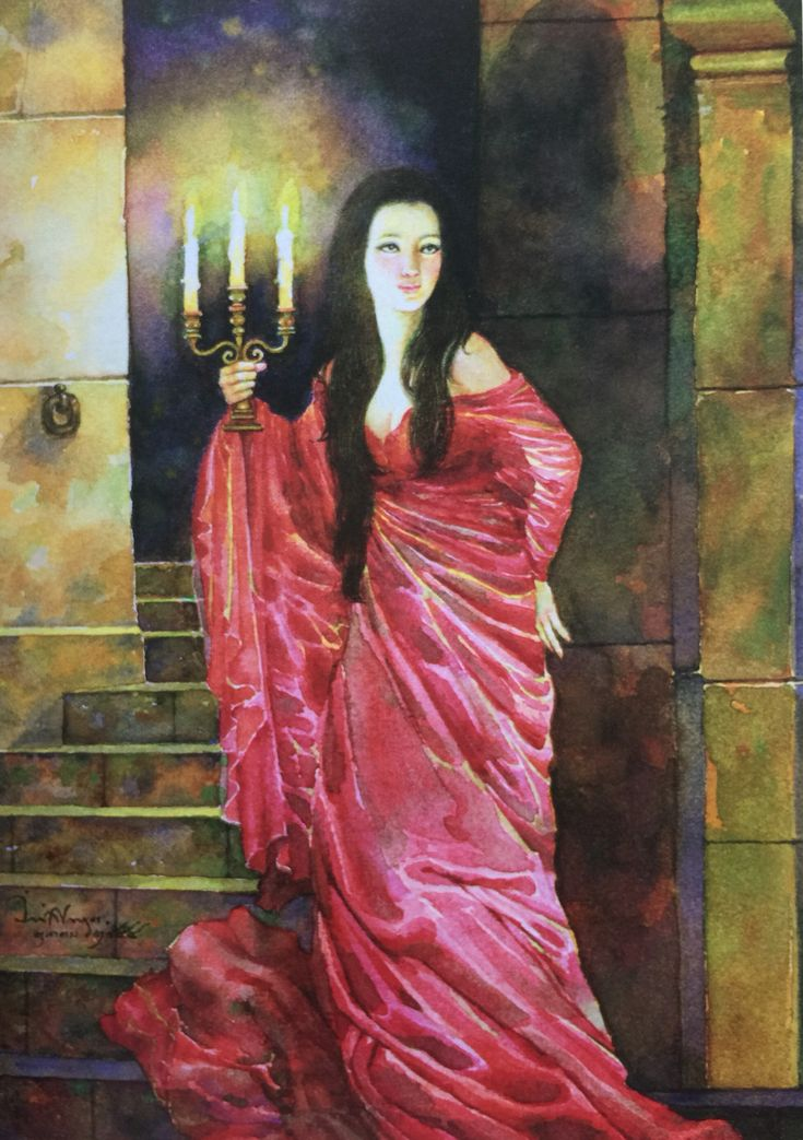 """The sleepwalking Lady Macbeth"" from William Shakespeare's ""Macbeth"" translated into Thai by Noppamas Waewhong. Watercolor on paper, 2011, by Chakrabhand Posayakrit, a Thai national artist"