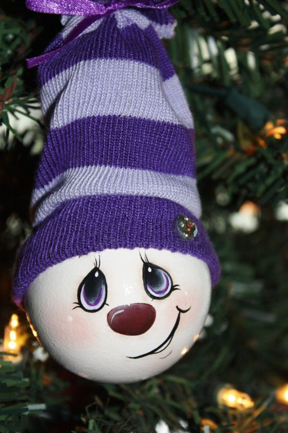 """Hand Painted """"Pretty In Purple"""" Light Bulb Ornament ..."""