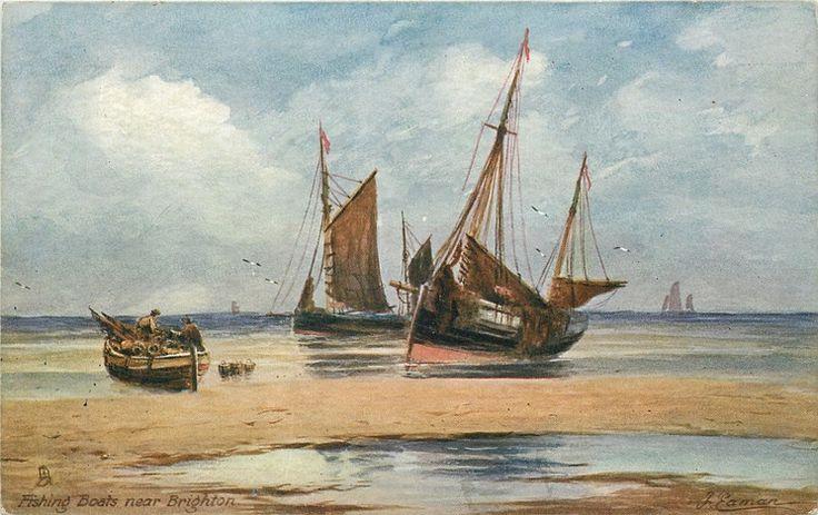 """Fishing Boats Near Brighton, Sussex"", J. Eaman, England"