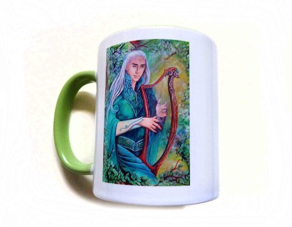 Mug  King Thranduil green and white mug hobbit by JankaLart
