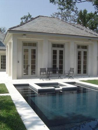 Love multiple sets of french doors. Pool and jacuzzi.