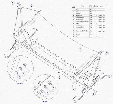 Garden hammock with stand plan - Parts list