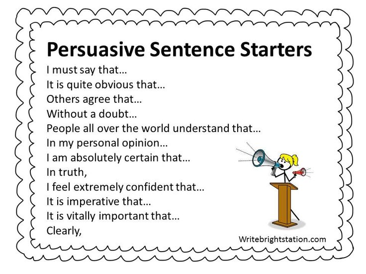 Sentence starters for writing an essay