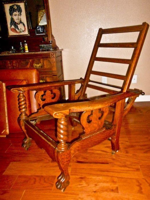 Antique Morris chair transitional Arts u0026 Crafts oak wood barley twist recliner  sc 1 st  Pinterest & 119 best Antique Morris Chairs images on Pinterest | Morris chair ... islam-shia.org