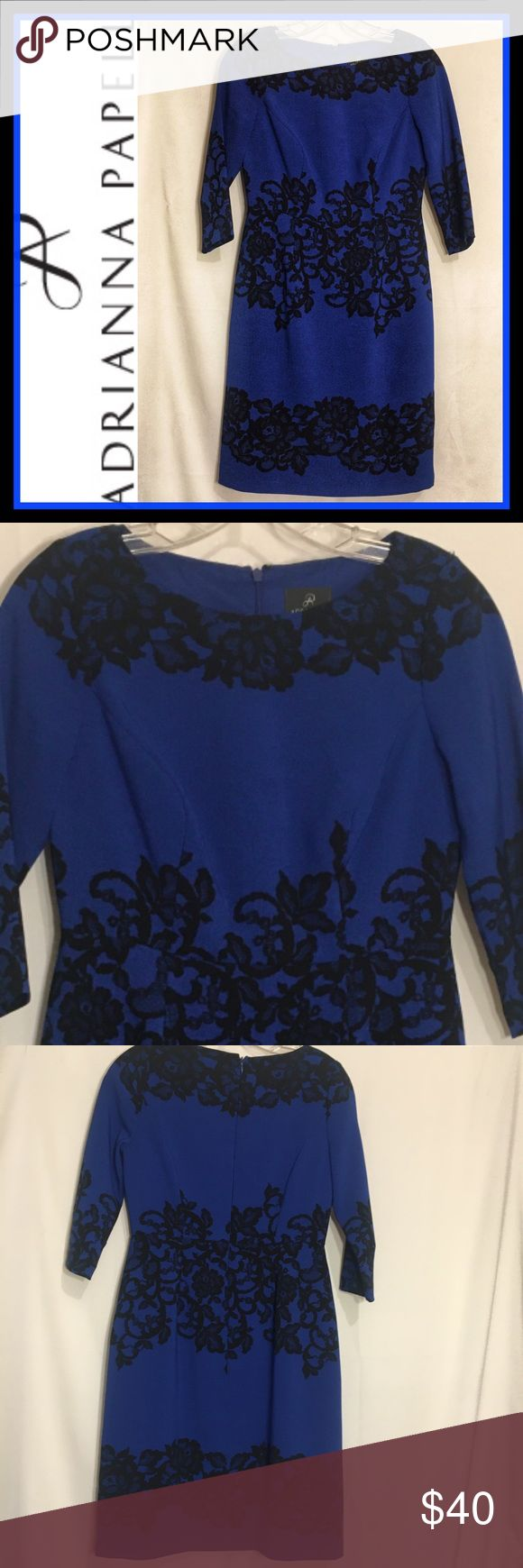 NWOT ADRIANNA PAPELL Blue w/Black Sheath Dress 4P NEW WITHOUT TAGS ADRIANNA PAP…