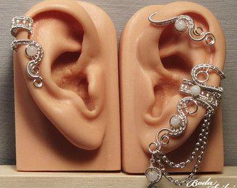 Moonstone EAR WRAP & cartilage ear cuff SET - moonstone ear cuff, adjustable earwrap, no piercing ear cuff, elegant jewelry, bridal jewelry