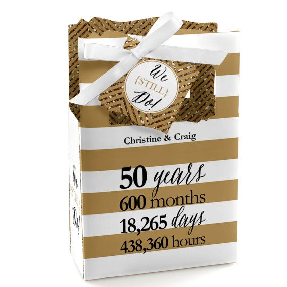 We Still Do - 50th Wedding Anniversary Favor Boxes - Custom Anniversary Party Supplies - 12 Count