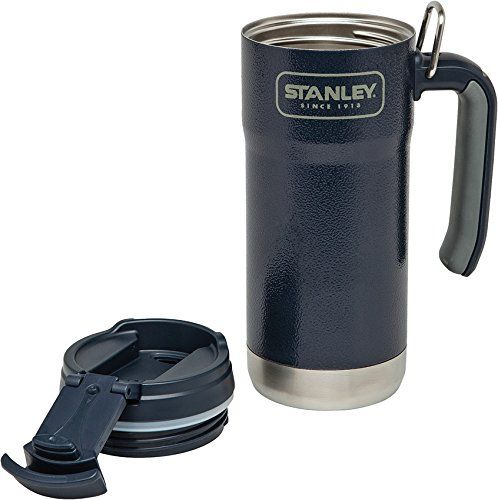 Stanley Adventure Vacuum Insulated Travel Mug, Hammertone Navy, 16 oz. For product & price info go to:  https://all4hiking.com/products/stanley-adventure-vacuum-insulated-travel-mug-hammertone-navy-16-oz/