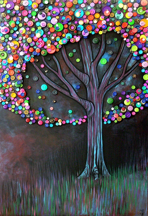 Art: Trees Art, Buttonart, Trees Crafts, Buttons Crafts, Diy Art, Buttons Art, Trees Paintings, Buttons Trees, Art Projects