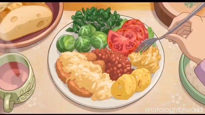 "15 2k Likes 133 Comments Studio Ghibli @totoroghibliworld on Instagram: ""⭐️Anime Food Alert⭐️ 🎶Amore Dean Martin Food Aesthetic food Dinner leftovers"