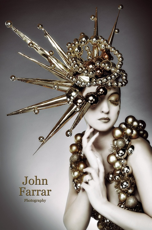 John Farrar photography. Gold spikes and beads head dress. Mad Hatter!