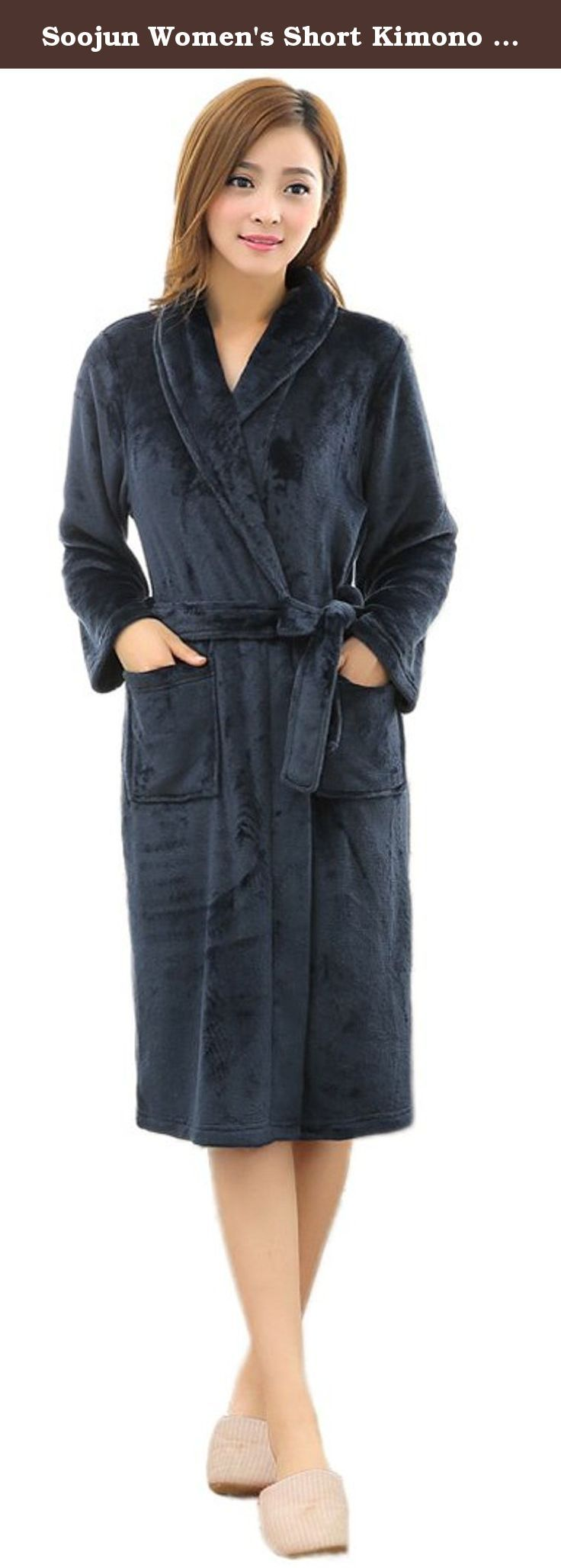 Soojun Women's Short Kimono Bathrobe Coral Fleece Shawl Collar Robe, Navy. We use post service (USPS, etc), express service (Fedex, DHL, UPS etc) to ship your package. You can easily get estimated delivery date when you place the order. We will never stop to pursuit your perfection. If you happen to have any other questions or concerns, please do not hesitate to contact us via e-mail. We will reply you within 8 hours by email. .