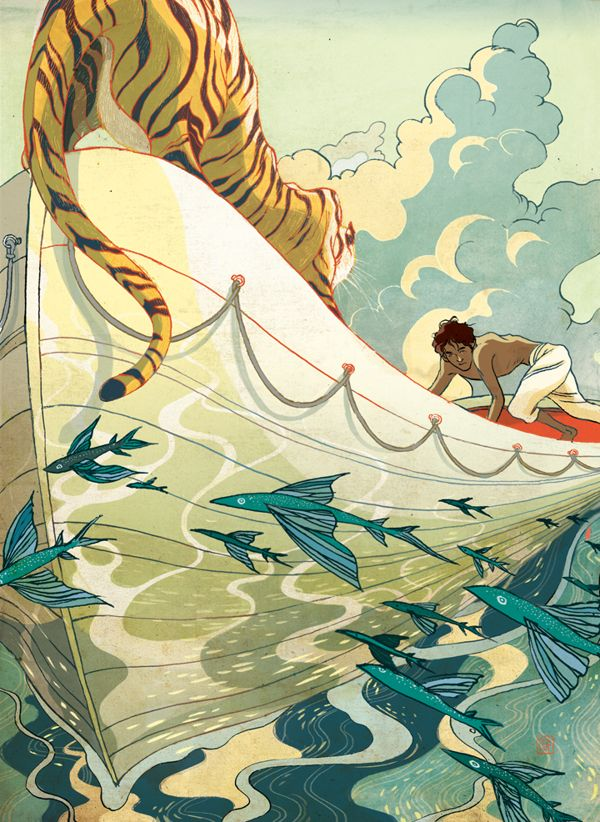 This poster plays with proportion and perspective. The tiger's placement and size plays with the intimidation of the animal and boy being trapped on this boat together. I also really love the Japanese influence on the design and color scheme.