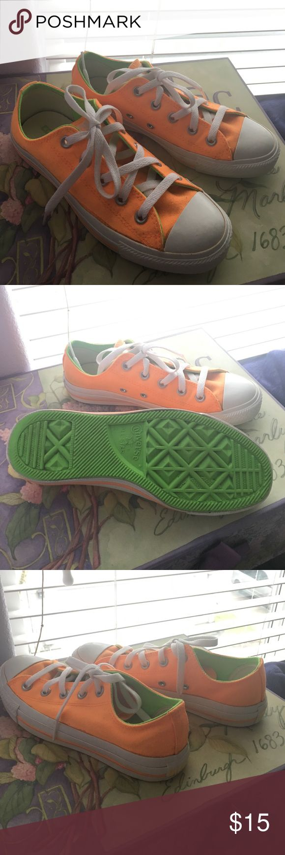 Converse neon orange Neon orange converse. Converse size 4 (6.5 standard size). Been worn few times but in good condition. Converse Shoes Sneakers