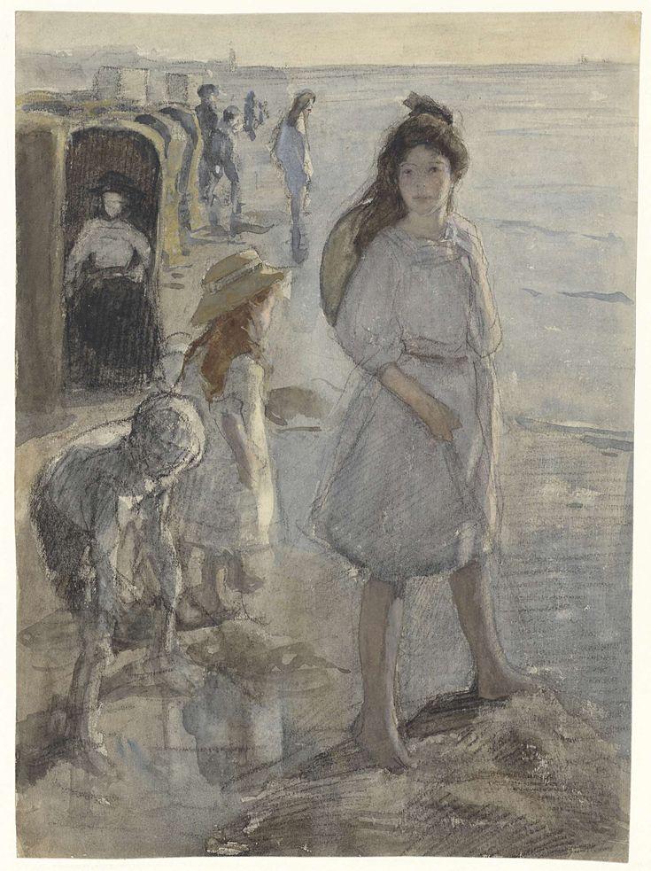 Staand meisje en andere kinderen op het strand te Scheveningen, Johan Antonie de Jonge, 1874 - 1927