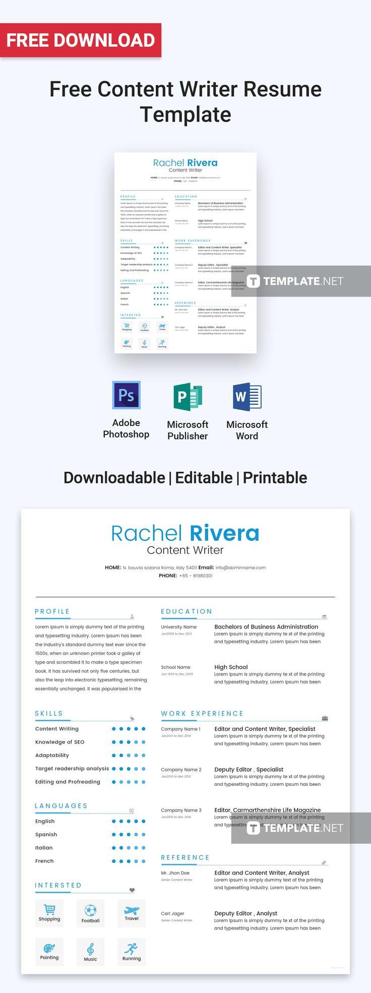 Free content writer resume resume design free resume