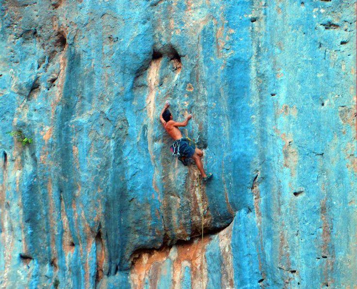 Beautiful blue lead climb. Ceuse, France